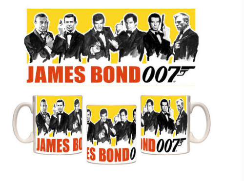 Taza mug James Bond 6 protagonistas